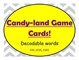 Candyland game cards- Decodable words- CVC, CCVC, CVCC