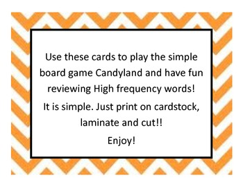 Candyland game cards- Fry's 1st 100 words!
