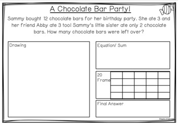 Candy's Corner Store- Subtraction Within 20 Word Problems