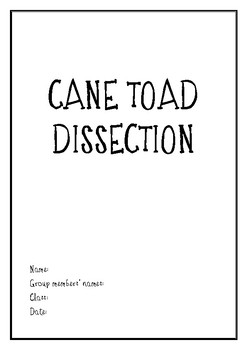 Cane Toad Dissection Lab