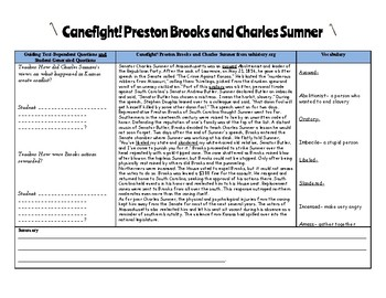 Canefight! Preston Brooks and Charles Sumner Close Reading