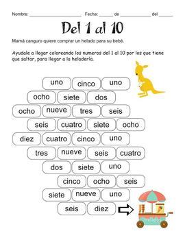 Canguro - numeros escritos del 1 al 10