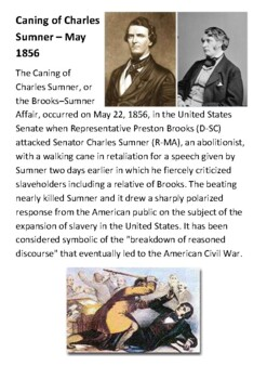 Caning of Charles Sumner Handout
