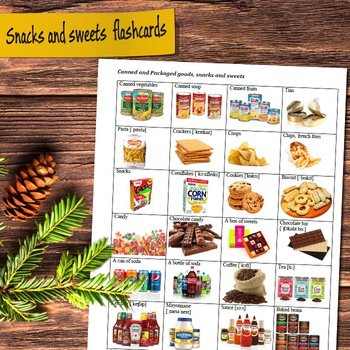 Canned and packaged goods, snacks and sweets flashcards