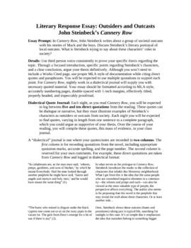Cannery Row by John Steinbeck: Literary Response and Analysis Unit
