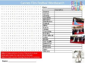 Cannes Film Festival Wordsearch Puzzle Sheet Keywords Movies Literature