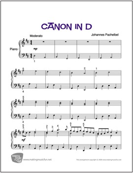 Canon in D (Pachelbel) | Sheet Music for Easy Piano (Digital Print)