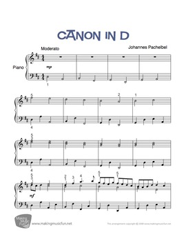 Canon in D | Sheet Music for Piano Solo - Play and Learn™ Series (Digital Print)