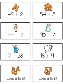 Can't Catch Me Math Folder Game - Common Core - Adding 2 and 1 Digit Numbers