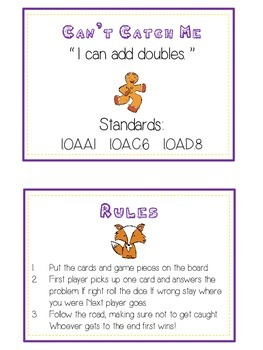 Can't Catch Me Math Folder Game - Common Core - Adding Doubles