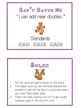 Can't Catch Me Math Folder Game - Common Core - Adding Near Doubles