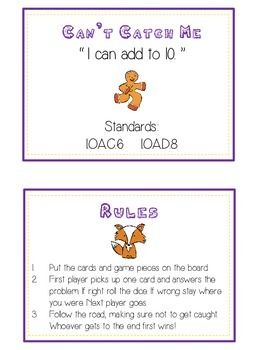 Can't Catch Me Math Folder Game - Common Core - Adding to 10