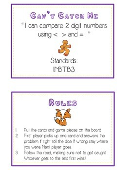 Can't Catch Me Math Folder Game - Common Core - Comparing 2 Digit Numbers