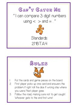 Can't Catch Me Math Folder Game - Common Core - Comparing 3 Digit Numbers