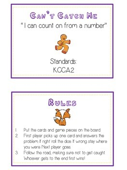 Can't Catch Me Math Folder Game - Common Core - Counting On From Number
