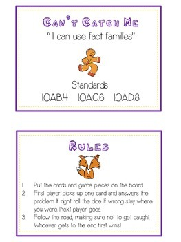 Can't Catch Me Math Folder Game - Common Core - Fact Families