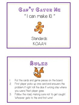 Can't Catch Me Math Folder Game - Common Core - Making Ten