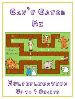 Can't Catch Me Math Folder Game - Common Core - Multiplication 1 2 3 4 Digits