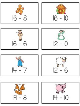 Can't Catch Me Math Folder Game - Common Core - Subtracting 10 to 20