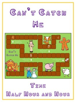 Can't Catch Me Math Folder Game - Common Core - Telling Time Half Hour Hour