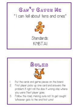 Can't Catch Me Math Folder Game - Common Core - Tens and Ones - Place Value