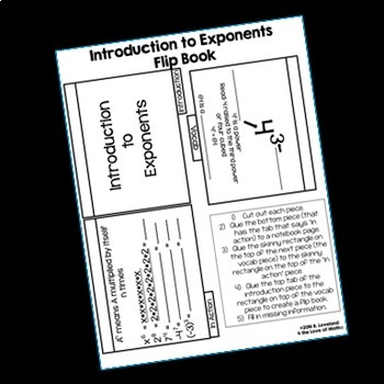 Introduction to Exponents Flip Book