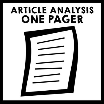 Article Analysis One Pager {Can't Live Without e-Book}