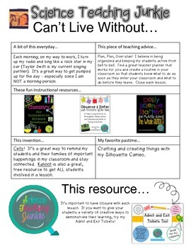 Can't Live Without Science Teaching Junkie's FREE Resource