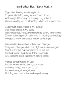 Cant Stop the Place Value song