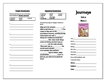 Journeys Grade 5 Trifold (Can't You Make Them Behave, King George?)