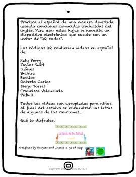 Cantando Aprendo Español con QR Codes