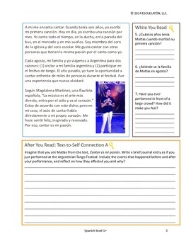 Cantar es mi pasion: Spanish 1 Reading Comprehension Activity Pack (Common Core)