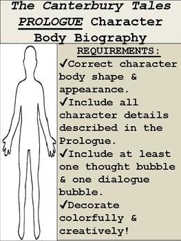 Canterbury Tales Body Biography Activity