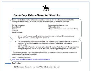 Canterbury Tales Bundle: Character Comparison, Pilgrim Autobiography, & Quiz