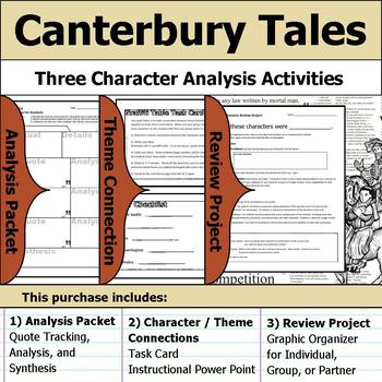 Canterbury Tales - Character Analysis Packet, Theme Connections, & Project