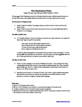 canterbury tales essay prompts