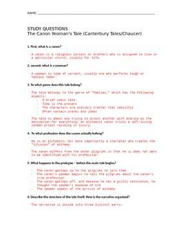 Canterbury Tales - Full Set of Study Questions + Keys (AP)