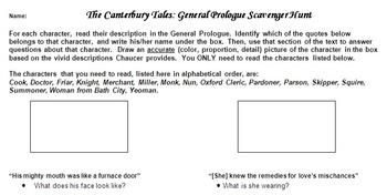 Canterbury Tales General Prologue Scavenger Hunt