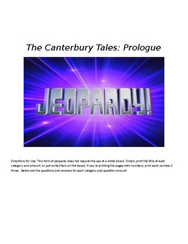 Canterbury Tales Jeopardy