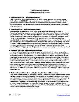 Canterbury Tales -- Journal Prompts (AP)