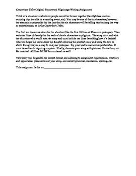 Canterbury Tales Original Pilgrimage Prologue Writing Assignment