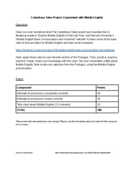 Canterbury Tales Project: Experiment with Middle English