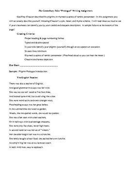 Canterbury Tales Writing Assignments Teaching Resources  Teachers  Canterbury Tales Prologue Writing Assignment Canterbury Tales Prologue  Writing Assignment