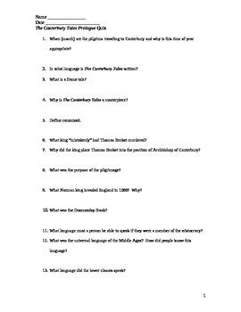 Canterbury Tales Prologue and Notes Quiz