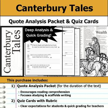 Canterbury Tales - Quote Analysis & Reading Quizzes