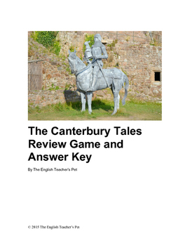 Canterbury Tales Review Game and Answer Key