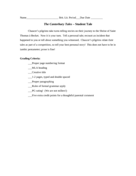 Canterbury Tales: Student Tale writing assignment