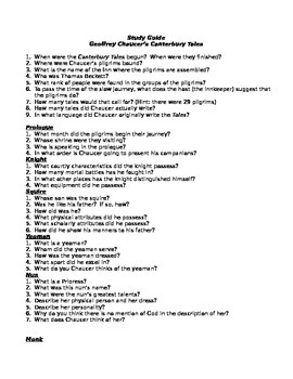 Canterbury Tales Study Guide (Prologue and Pardoner's Tale)