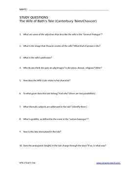 Canterbury Tales - Study Questions - Wife of Bath's Tale (AP)
