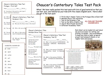 Canterbury Tales Tests Prologue Pardoner's Tale Wife of Bath